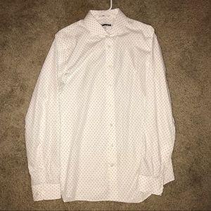 Slim Fit Micro Dot Dress Shirt-White & Grey